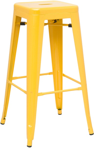 Hasonay Kitchen Bar Stool Yellow Metal Frame Fixed Height Retro Industrial Style