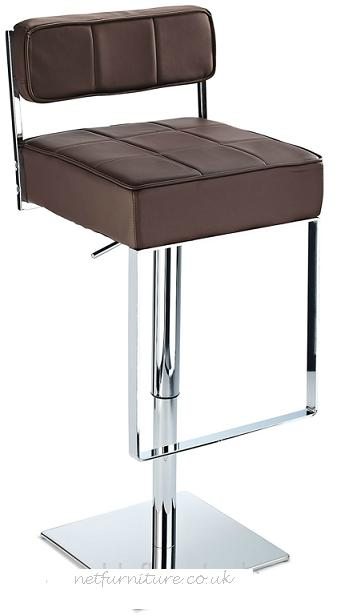 Chelsea Bar Stool, Padded Seat With Square Footrest Height Adjustable - Brown