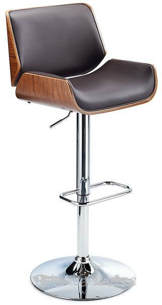 Glorious Bar Stool With Walnut Veneer Framework - Brown