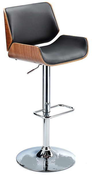 Glorious Kitchen Bar Stool With Walnut Veneer Framework Black Matt Seat
