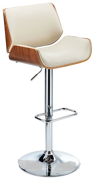 Glorious Bar Stool With Walnut Veneer Framework - Cream