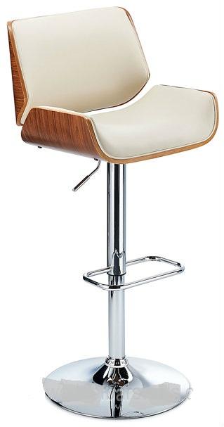 Glorious Bar Stool With Walnut Veneer Framework - Cream