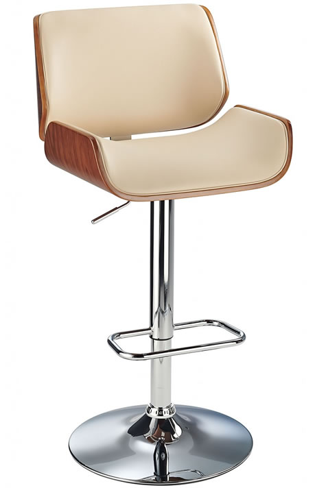 Glorious Bar Stool With Walnut Arms Cream Padded Seat