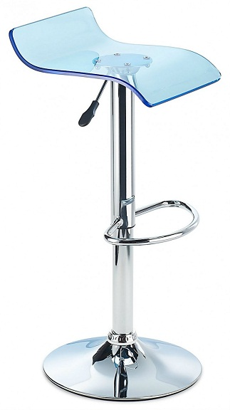 Sharp Acrylic Bar Stool, Height Adjustable - Tinted Blue