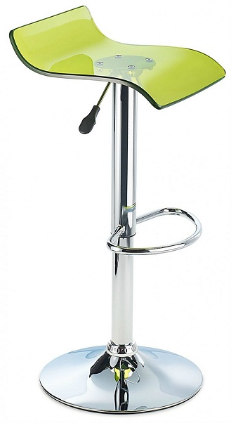 Sharp Acrylic Bar Stool, Height Adjustable - Green