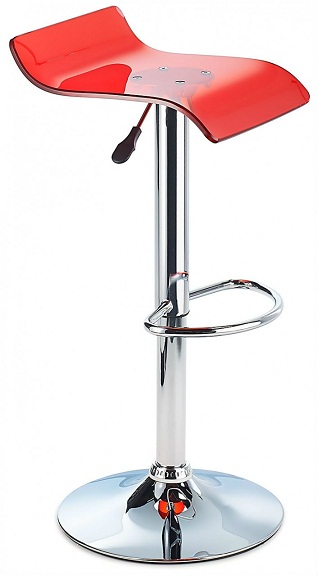 Sharp Acrylic Bar Stool, Height Adjustable - Red