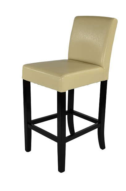 Deule Dark Wood Bar Stool - Cream