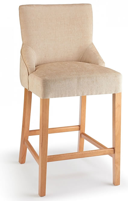 Naponese Oak Wood Stylish Kitchen Breakfast Bar Stool Beige Fabric Padded Seat