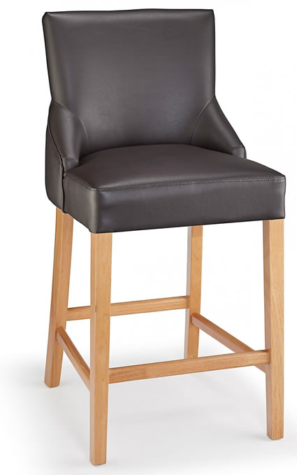 Naponese Oak Wood Stylish Kitchen Breakfast Bar Stool Brown Padded Seat Fully Assembled