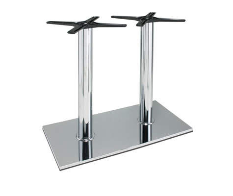Lucci Large Rectangular Chrome Twin Kitchen Table Base Poseur Table Height