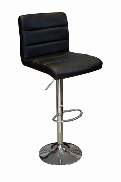 Opulent Kitchen Breakfast Bar Stool Padded Black Seat Height Adjustable Chrome Frame