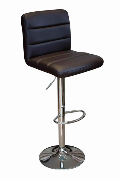 Opulent Kitchen Breakfast Bar Stool Padded Brown Seat Height Adjustable Chrome Frame