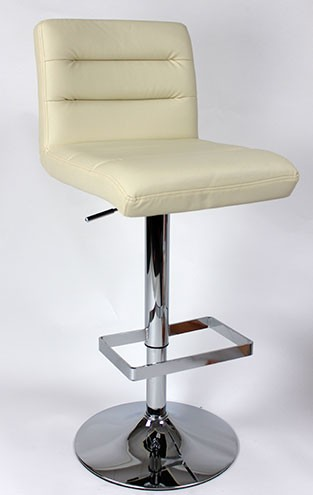 Verdant Adjustable Chrome Bar Stool with 360 degree swivel and faux leather padded seat