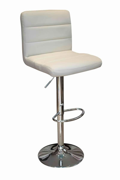 Opulent Kitchen Breakfast Bar Stool Padded Cream Seat Height Adjustable Chrome Frame