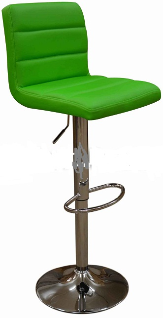 Opulent Kitchen Breakfast Bar Stool Padded Green Seat Height Adjustable Chrome Frame