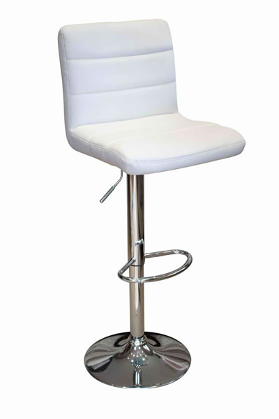 Opulent Kitchen Breakfast Bar Stool Padded White Seat Height Adjustable Chrome Frame