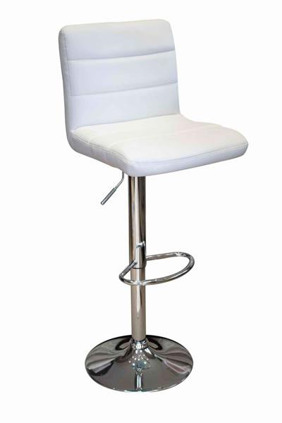 Opulent Kitchen Breakfast Bar Stool Padded White Seat Height Adjustable Chrome Frame