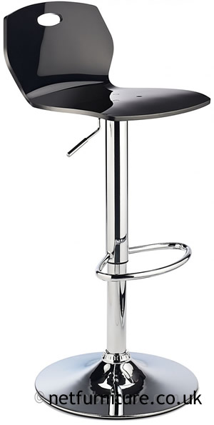 Laney ABS Retro Plastic Bar Stool, Height Adjustable - Black