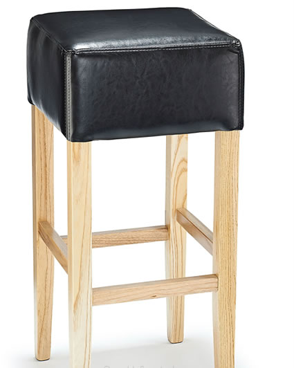 Rhone Black Real Bonded Leather Hard Wood Oak Bar Stool - Fully Assembled