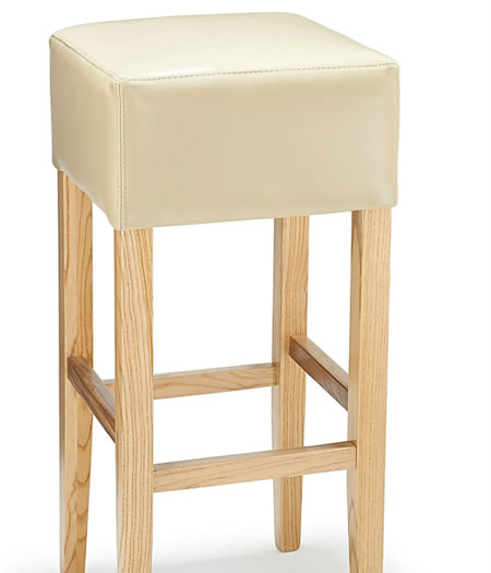 Rhone Cream Real Bonded Leather Hard Wood Oak Breakfast Bar Stool - Fully Assembled