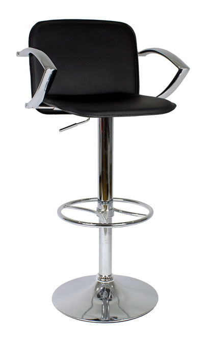 Manager Bar Stool Black or Cream Seat With Arms and Backrest