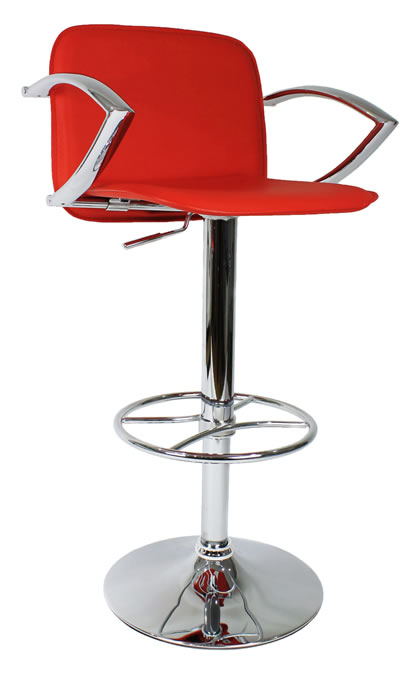 Manager Bar Stool  Red Padded Seat Back and Armrest Chrome Frame