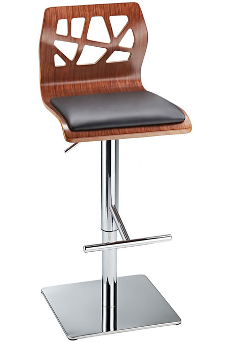 Carvagio Funky Kitchen Breakfast Bar Stool - Walnut Finish Padded Seat, Height Adjustable