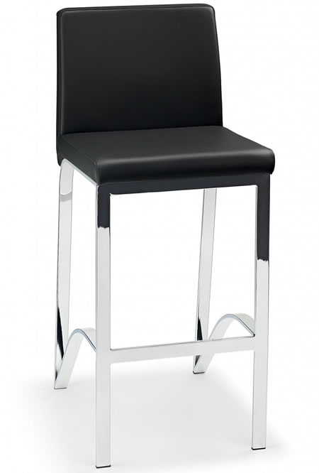 Motti Bar Chair Stool - Real  Leather - Stainless Steel brushed frame