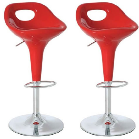 Chic Amy bar stool with mettallic red gloss seat and adjustable height