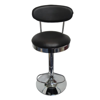 Pisanoy Retro Black Kitchen Breakfast Bar Stool With Back Height Adjustable