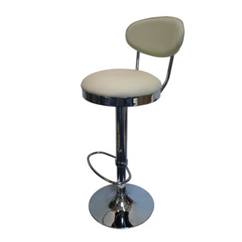 Pisanoy Retro White Kitchen Breakfast Bar Stool With Back Height Adjustable