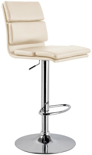 Puerta Adjustable Bar Stool with faux leather padded seat and chrome base