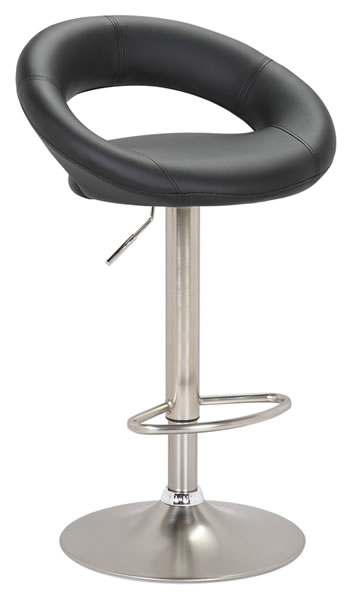 Stylish Kitchen Bar Stool Brushed Stainless Steel  Moon Padded Seat