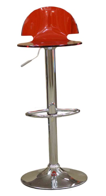 Celestial Red Kitchen Breakfast Bar Stool Perspex Transparent Height Adjustable