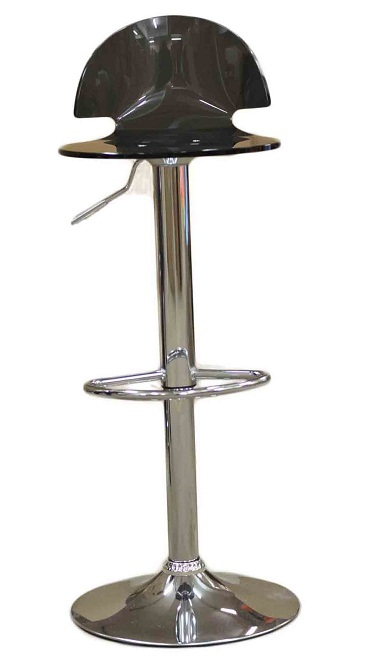 Celestial Smoked Kitchen Breakfast Bar Stool Perspex Transparent Height Adjustable