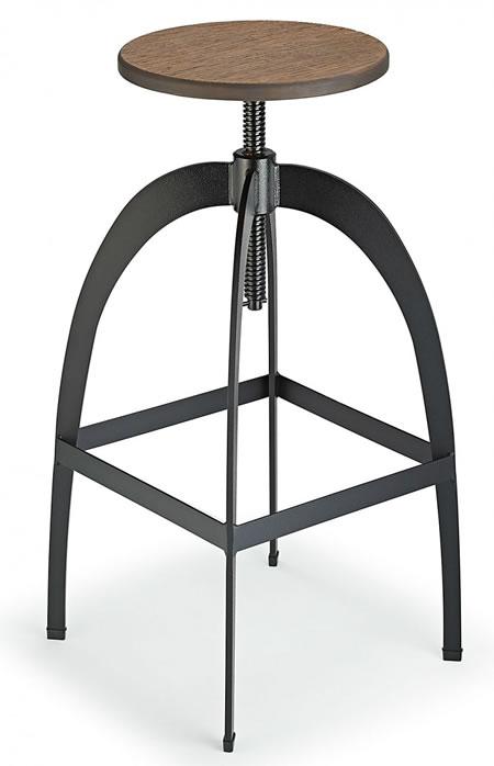 Falopany Retro Industrial Style Swivel and Height Adjustable Kitchen Breakfast Bar Stool Walnut Seat