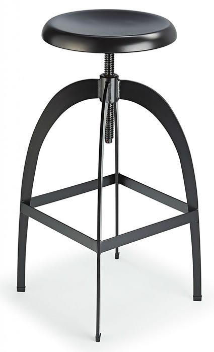 Falopany Retro Industrial Style Swivel and Height Adjustable Kitchen Breakfast Bar Stool in Black