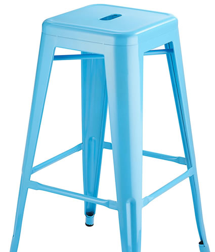 Marina Metal Frame Modern Kitchen Bar Stool In Blue