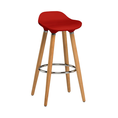 Blasene Red Modern Kitchen Bar Stool Height Fixed Height Beech Legs