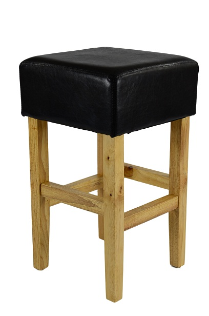 Loire Low Oak Wood Kitchen Bar Stool - Black Bonded Leather Seat
