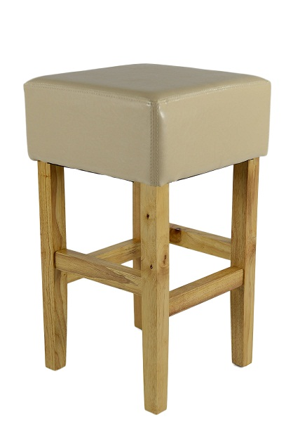 Loire Low Oak Wood Kitchen Bar Stool - Cream Bonded Leather Seat