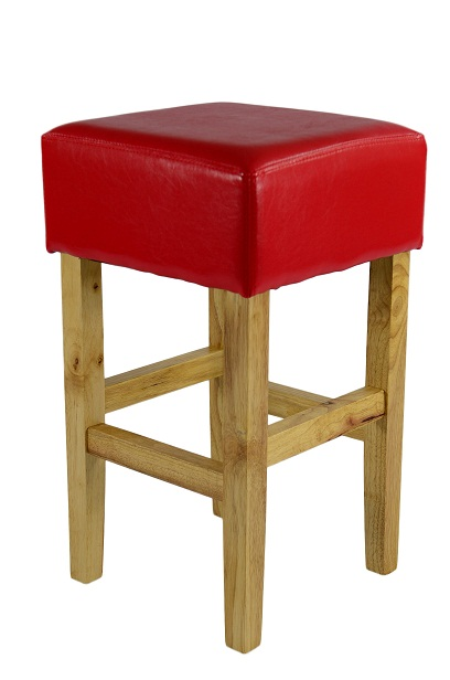 Rhone Low Wood Bar Stool - Red