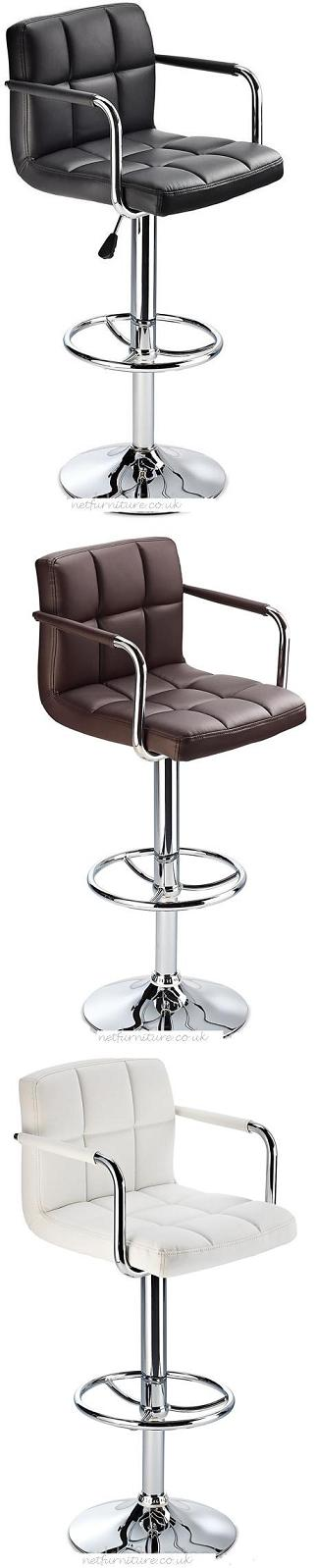 Landia Bar Stool with Arms and Back Rest  Adjustable Height