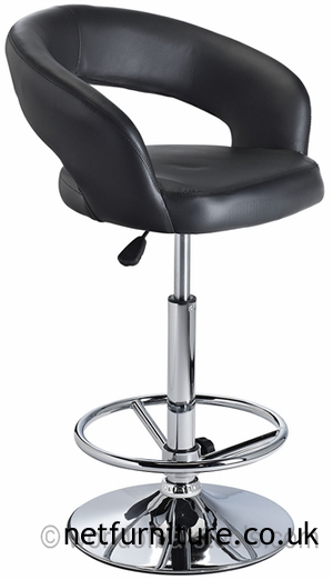 Acqua Bar Stool with Padded Adjustable Swivel Seat - Black