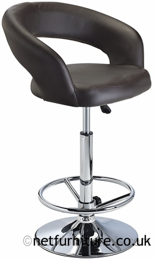 Acqua Bar Stool with Padded Adjustable Swivel Seat - Brown