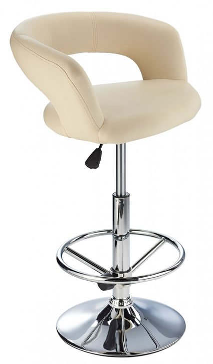 Acqua Bar Stool with Padded Adjustable Swivel Seat Cream
