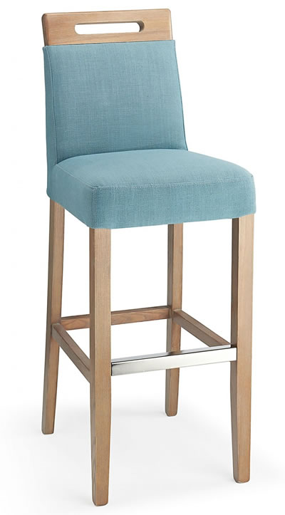 Modomi teal fabric seat kitchen breakfast bar stool wooden frame fully assembled
