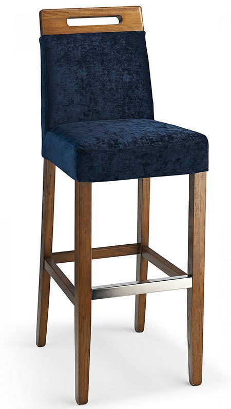 Modomi navy fabric seat kitchen breakfast bar stool wooden frame fully assembled