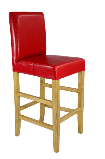 Seine Light Wood Bar Stool - Red