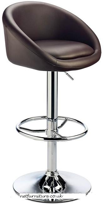 Lombardy Kitchen Bar Stool - Brown Adjustable Height Padded and Swivel Seat